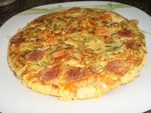 Tortilha Legumes e Salsichas