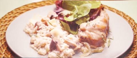 Receita de coelho com mostarda e risotto de cogumelos