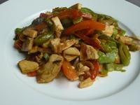 Feijão verde com pimentão e cebola refogado